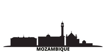 Mozambique city skyline isolated vector illustration. Mozambique travel cityscape with landmarks Illusztráció