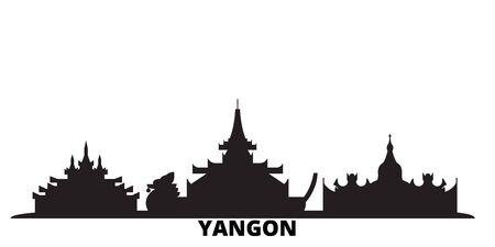 Myanmar, Yangon city skyline isolated vector illustration. Myanmar, Yangon travel cityscape with landmarks Ilustração