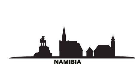 Namibia city skyline isolated vector illustration. Namibia travel cityscape with landmarks