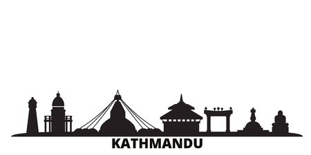 Nepal, Kathmandu city skyline isolated vector illustration. Nepal, Kathmandu travel cityscape with landmarks