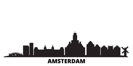 Netherlands, Amsterdam City city skyline isolated vector illustration. Netherlands, Amsterdam City travel cityscape with landmarks