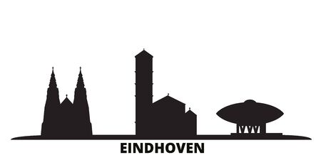 Netherlands, Eindhoven city skyline isolated vector illustration. Netherlands, Eindhoven travel cityscape with landmarks 向量圖像