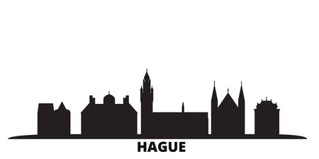 Netherlands, Hague city skyline isolated vector illustration. Netherlands, Hague travel cityscape with landmarks 向量圖像