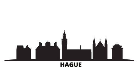 Netherlands, Hague city skyline isolated vector illustration. Netherlands, Hague travel cityscape with landmarks Illustration