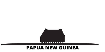 Papua New Guinea city skyline isolated vector illustration. Papua New Guinea travel cityscape with landmarks