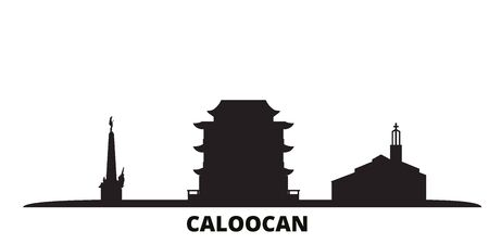 Philippines, Caloocan city skyline isolated vector illustration. Philippines, Caloocan travel cityscape with landmarks