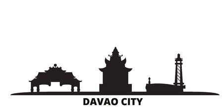 Philippines, Davao City city skyline isolated vector illustration. Philippines, Davao City travel cityscape with landmarks