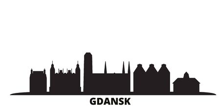 Poland, Gdansk city skyline isolated vector illustration. Poland, Gdansk travel cityscape with landmarks