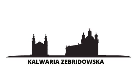 Poland, Kalwaria Zebrzydowska city skyline isolated vector illustration. Poland, Kalwaria Zebrzydowska travel cityscape with landmarks