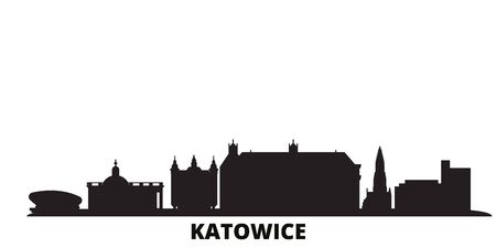 Poland, Katowice city skyline isolated vector illustration. Poland, Katowice travel cityscape with landmarks Ilustracja