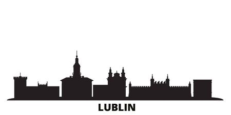 Poland, Lublin city skyline isolated vector illustration. Poland, Lublin travel cityscape with landmarks