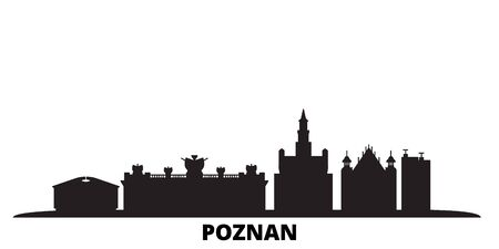 Poland, Poznan city skyline isolated vector illustration. Poland, Poznan travel cityscape with landmarks  イラスト・ベクター素材