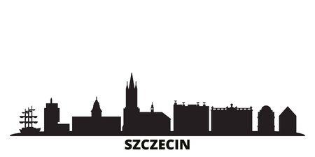 Poland, Szczecin city skyline isolated vector illustration. Poland, Szczecin travel cityscape with landmarks