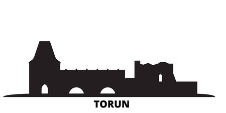 Poland, Torun City city skyline isolated vector illustration. Poland, Torun City travel cityscape with landmarks