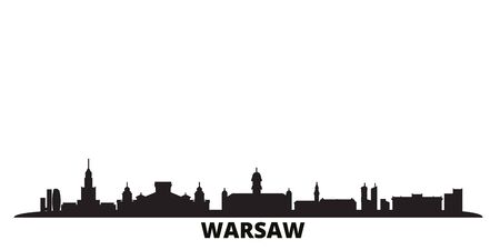 Poland, Warsaw city skyline isolated vector illustration. Poland, Warsaw travel cityscape with landmarks