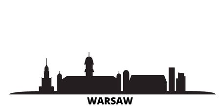 Poland, Warsaw City city skyline isolated vector illustration. Poland, Warsaw City travel cityscape with landmarks
