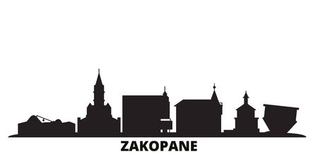 Poland, Zakopane city skyline isolated vector illustration. Poland, Zakopane travel cityscape with landmarks