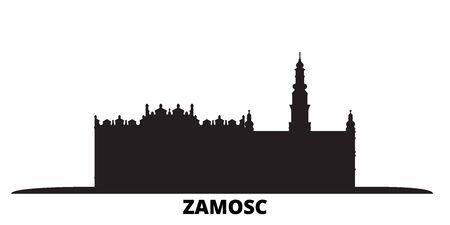 Poland, Zamosc city skyline isolated vector illustration. Poland, Zamosc travel cityscape with landmarks Иллюстрация