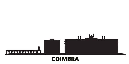 Portugal, Coimbra city skyline isolated vector illustration. Portugal, Coimbra travel cityscape with landmarks