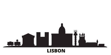 Portugal, Lisbon city skyline isolated vector illustration. Portugal, Lisbon travel cityscape with landmarks