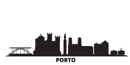 Portugal, Porto city skyline isolated vector illustration. Portugal, Porto travel cityscape with landmarks