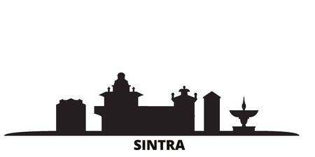 Portugal, Sintra city skyline isolated vector illustration. Portugal, Sintra travel cityscape with landmarks