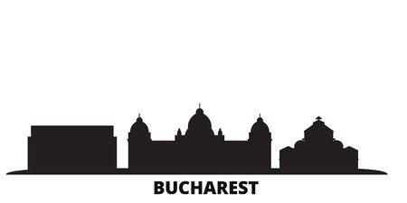 Romania, Bucharest city skyline isolated vector illustration. Romania, Bucharest travel cityscape with landmarks