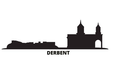 Russia, Derbent city skyline isolated vector illustration. Russia, Derbent travel cityscape with landmarks