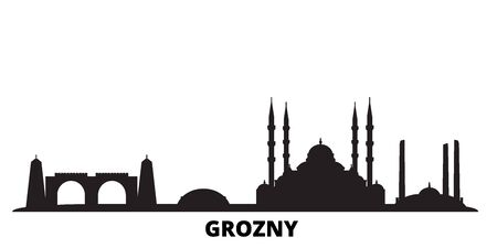 Russia, Grozny city skyline isolated vector illustration. Russia, Grozny travel cityscape with landmarks