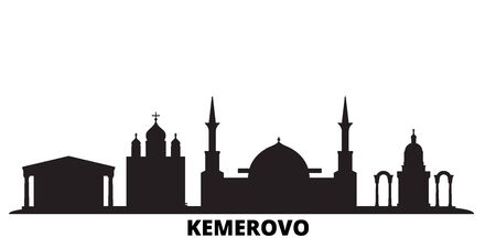Russia, Kemerovo city skyline isolated vector illustration. Russia, Kemerovo travel cityscape with landmarks