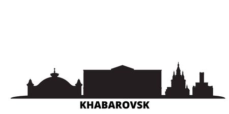 Russia, Khabarovsk city skyline isolated vector illustration. Russia, Khabarovsk travel cityscape with landmarks
