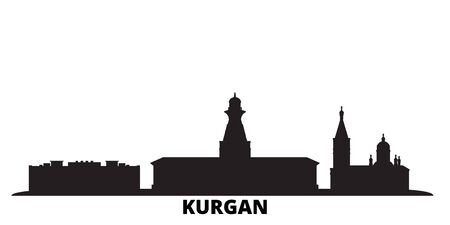 Russia, Kurgan city skyline isolated vector illustration. Russia, Kurgan travel cityscape with landmarks