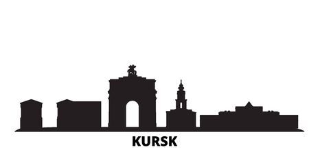 Russia, Kursk city skyline isolated vector illustration. Russia, Kursk travel cityscape with landmarks