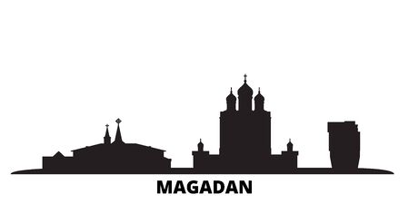 Russia, Magadan city skyline isolated vector illustration. Russia, Magadan travel cityscape with landmarks