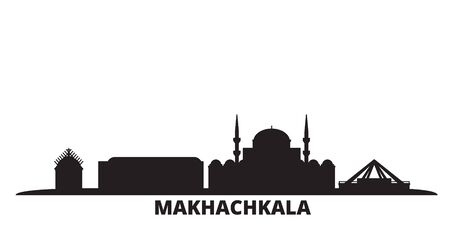 Russia, Makhachkala city skyline isolated vector illustration. Russia, Makhachkala travel cityscape with landmarks