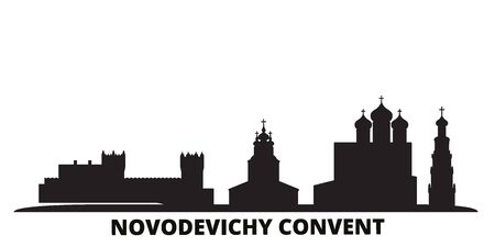 Russia, Moscow, Novodevichy Convent city skyline isolated vector illustration. Russia, Moscow, Novodevichy Convent travel cityscape with landmarks Illustration
