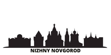 Russia, Nizhny Novgorod city skyline isolated vector illustration. Russia, Nizhny Novgorod travel cityscape with landmarks Stock Vector - 134611153