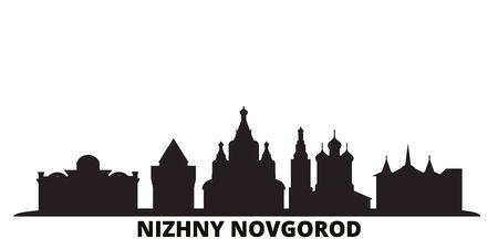 Russia, Nizhny Novgorod city skyline isolated vector illustration. Russia, Nizhny Novgorod travel cityscape with landmarks