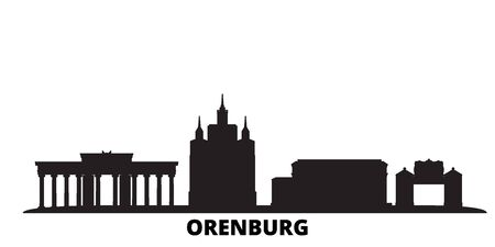 Russia, Orenburg city skyline isolated vector illustration. Russia, Orenburg travel cityscape with landmarks 일러스트