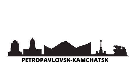 Russia, Petropavlovsk Kamchatsk city skyline isolated vector illustration. Russia, Petropavlovsk Kamchatsk travel cityscape with landmarks