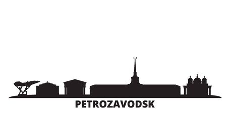 Russia, Petrozavodsk city skyline isolated vector illustration. Russia, Petrozavodsk travel cityscape with landmarks Illusztráció