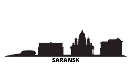 Russia, Saransk city skyline isolated vector illustration. Russia, Saransk travel cityscape with landmarks