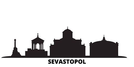 Russia, Sevastopol city skyline isolated vector illustration. Russia, Sevastopol travel cityscape with landmarks Illusztráció