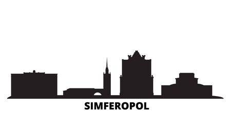 Russia, Simferopol city skyline isolated vector illustration. Russia, Simferopol travel cityscape with landmarks