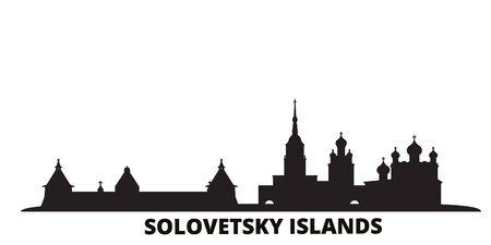 La Russie, les îles Solovetsky city skyline illustration vectorielle isolé. Russie, paysage urbain de voyage des îles Solovetsky avec des points de repère Vecteurs