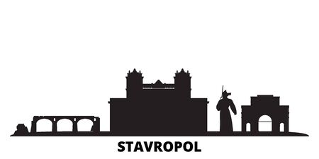 Russia, Stavropol city skyline isolated vector illustration. Russia, Stavropol travel cityscape with landmarks