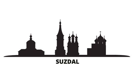 Russia, Suzdal city skyline isolated vector illustration. Russia, Suzdal travel cityscape with landmarks