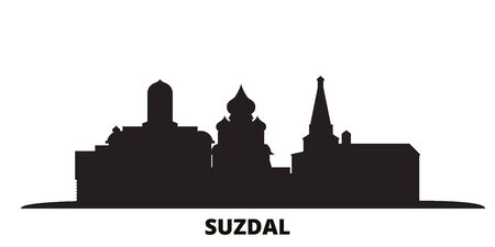 Russia, Suzdal City city skyline isolated vector illustration. Russia, Suzdal City travel cityscape with landmarks