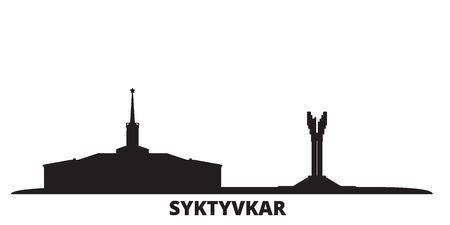 Russia, Syktyvkar city skyline isolated vector illustration. Russia, Syktyvkar travel cityscape with landmarks