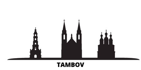 Russia, Tambov city skyline isolated vector illustration. Russia, Tambov travel cityscape with landmarks